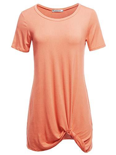 SSOULM Women's Short Sleeve Loose Fit Twist Knot Tunic Tops Peach L