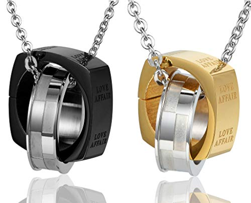 ANAZOZ Stainless Steel Pendant Necklace Two Rings Interlocking Square Black Golds Couple Love Affair