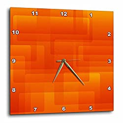 3dRose Bright Orange on Orange Rounded Rectangles Abstract - Wall Clock, 13 by 13-Inch (DPP_213735_2)