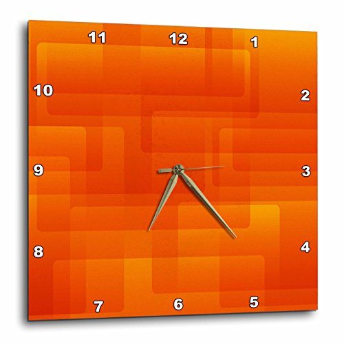 3dRose Bright Orange on Orange Rounded Rectangles Abstract – Wall Clock, 13 by 13-Inch DPP_213735_2