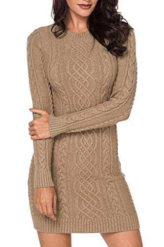 LaSuiveur Women's Winter Casual Sweater Jumpers Long Sleeve Short Dress Brown S