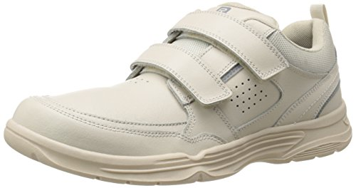 Rockport Men's State-O-Motion Hook and Loop Sport White Leather 9.5 W (EE)-9.5 W