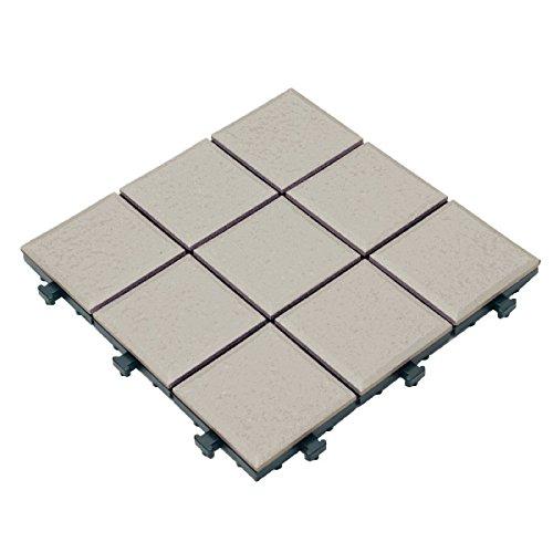 ベランダタイル 30cm正方形9枚タイル柄 グレー(60枚セット) B01LZQOMOV グレー