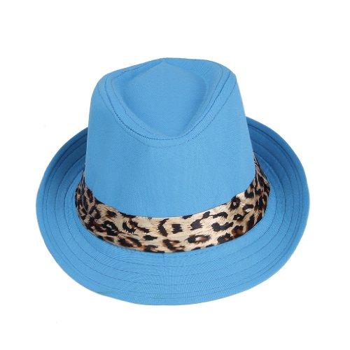 [Smile YKK Girls' Leopard Fedora Trilby Panama Cowboy Sun Hat Jazz Blue] (Leopard Cowboy Hat)