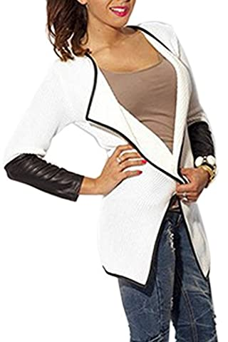 Women's Leather Patchwork Open Front Cardigan Polo Collar Autumn Long Sleeve Blazer Baseball Bomber Jacket White M