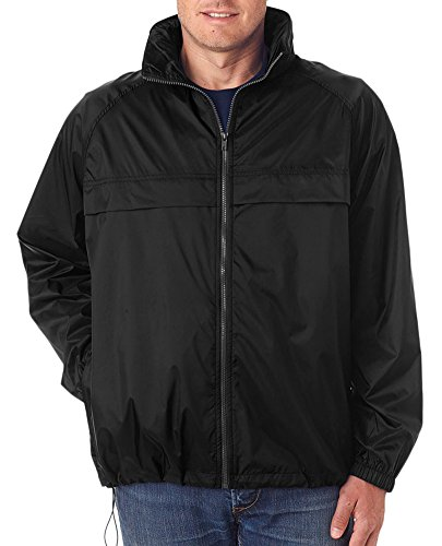 (UltraClub Men's Full-Zip Hooded Pack-Away Jacket, BLACK, X-Large)