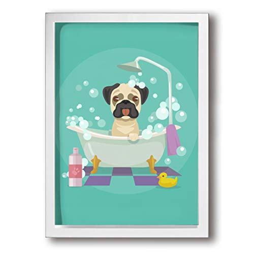 - SRuhqu Canvas Wall Art Prints Pug Dog in Bathtub Grooming Salon Service Shampoo Rubber Duck Pets -Photo Paintings Modern Home Decoration Giclee Artwork-Wood Frame Ready to Hang