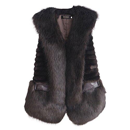 veste en VLUNT Brown fourrure de la cuir Gilet de fausse manteau veste veste gilet fourrure fourrure des femmes femmes Parka de Manteau de veste femmes d'hiver gilet dqfpAq