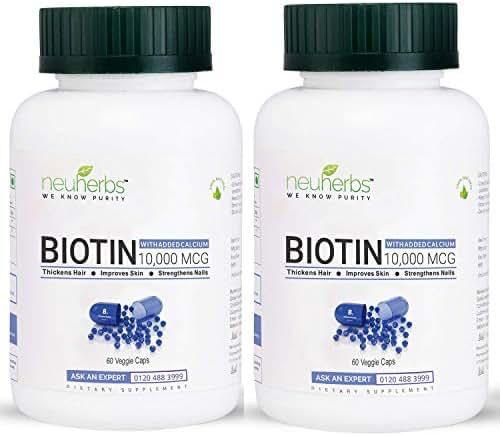 100 % organic no side effects pure Biotin Maximum Strength 10000 mcg - 60 Veg capsules (pack of 2)| instant result