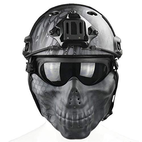 QZY Tactical Airsoft Casque Balistique - Double Straps Half Face Skull Mask - Lunettes, Armée Militaire Rapide PJ Casque… 2