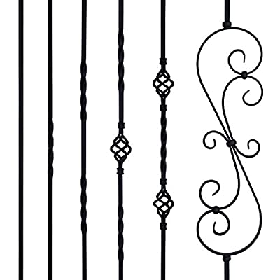 Vidagoods Matte Black Iron Balusters Iron Spindles Metal Stair Parts Sets