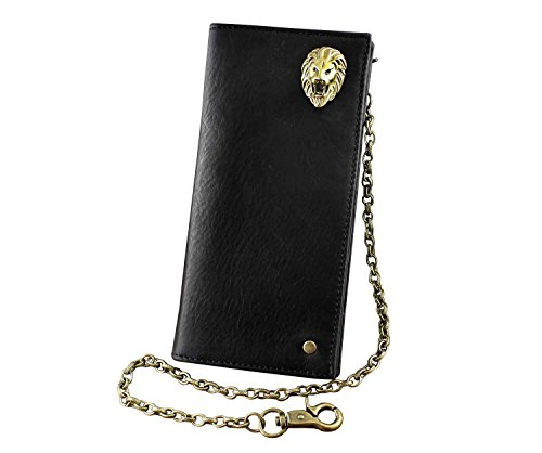 With Brass Chain Real Card Long Head Concho key Leather Wallet Holder Lion RrCCPWnz