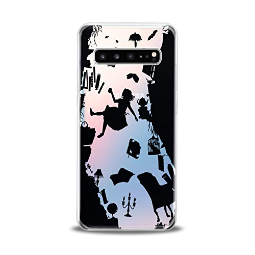 Lex Altern TPU Case for Samsung Galaxy s10 5G Plus 10e Note 9 s9 s8 s7 Alice in Wonderland Clear Silicone Black Silhouette Cover Print Protective Lightweight Flexible Transparent Girls Women Character -