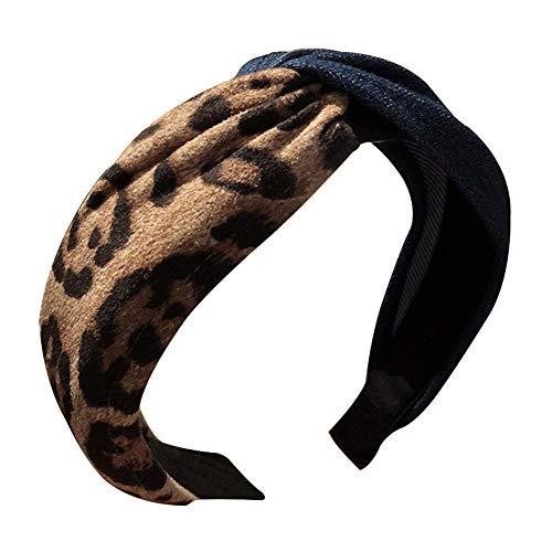 Polytree Wide Leopard Print Color Block Crossed Hair Hoop Knot Turban Headband for Women Girls