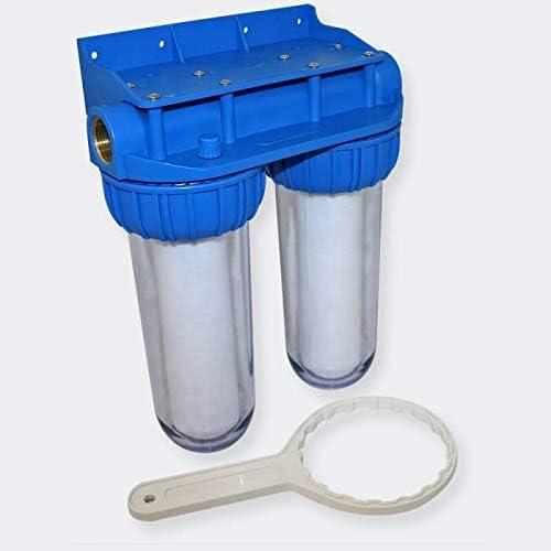 Puerta doble filtro claro 10 pulgadas desineo con soporte de pared incluido