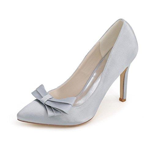 Primavera La L Del Altos Verano Cómoda Silver yc Satén Boda De Mujeres Fiesta Las Tarde Zapatos Y Básica Bomba Tacones 0q4arw0