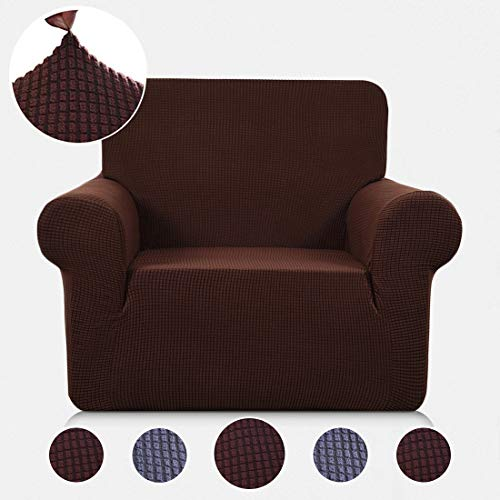 (TASTELIFE Chair Slipcover 1-Piece Thickened Stretch Fabric Furniture Protector Couch Cover for Sofa Loveseat 1 Seater (Coffee))