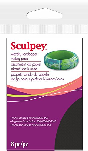 Polyform AS2010 8-Piece Sculpey Wet/Dry Sandpaper, 2.75 by 4.5-Inch, Variety Pack