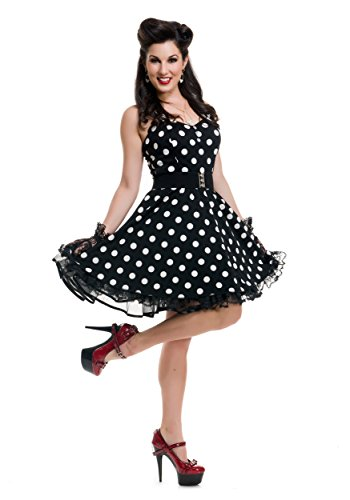 [Pin Up Polka Dot Dress Adult Costume Black - Large] (Bettie Page Halloween Costume)