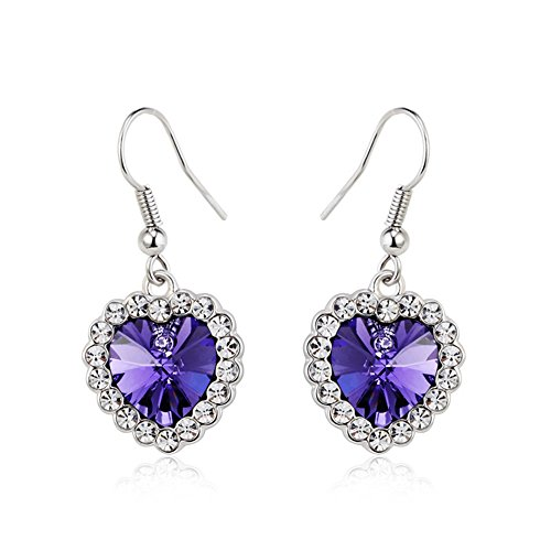 [OUXi Platinum Plated Love Heart Shaped Drop Earrings with Cubic Zirconia Amethyst Come with Back] (Mosaic Heart Ring)