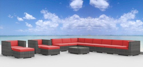 - UrbanFurnishing.net 14d-Newport-coralred 14 Piece Modern Patio Furniture Sofa Sectional Couch Set