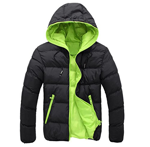 OUBAO Men's Warm Winter Puffer Coat Casual Thick Fur Hooded Warm Outwear Jacket (XL, Green #2) (Down Transit Jacket)