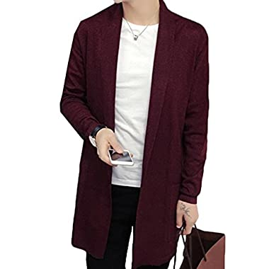 Acquaa Men Shawl Collar Open Front Pockets Casual Long Cardigan Wine Red L