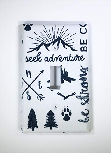 Seek Adventure Fabric Covered Single Light Switch cover/Switch Plate/Kid's Bedroom/Nursery Decor/Baby Shower Gift/Home Decor/Lighting / Wall Art/Woodland