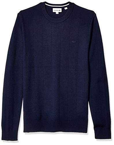 Lacoste Men's Long Sleeve Pinstriped Cotton/Cashmere Sweater, Navy Blue/geode, Small