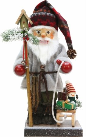 Alexander Taron Importer 0-491  Christian Ulbricht Nutcracker Santa with Sled, Snowshoes an d Birdhouse Staff by Alexander Taron Importer