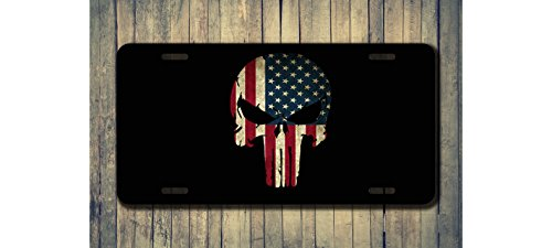 Skull with Vintage American Flag Custom License Plate Sublimation Printed
