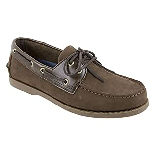 Rugged Shark Men's Classic Boat Shoes - Odor Control Technology Brown Two-tone 9.5 D M  US