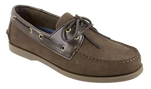 (Rugged Shark Men's Classic Boat Shoes with Odor Control Technology, Brown, Size 8.5)
