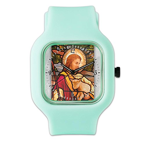 (SeaFoam Fashion Sport Watch Jesus Christ Lamb Stained Glass)