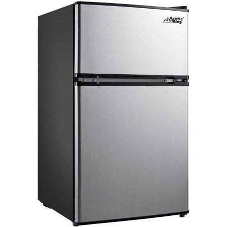 Arctic King 3.2 Cu Ft 2 Door Compact Refrigerator, Stainless Steel Look