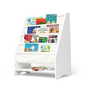 Kids Bookshelf Wooden Magazine Bookcase Storage Display Stand Rack for Children Ivory
