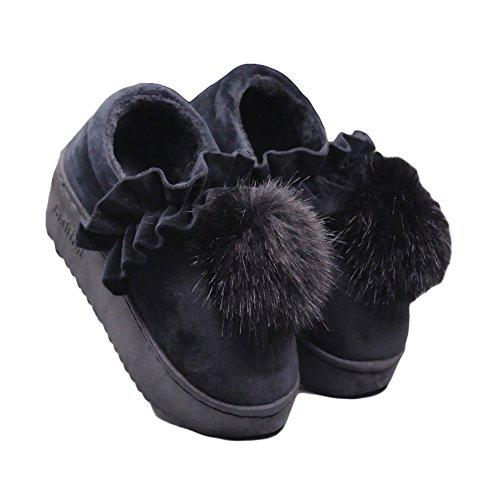 Cybling Winter Vrouwen Warm Huis Slipper Schattig Pluche Indoor Schoenen Dikke Zool Comfort Zwart