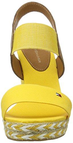 Tommy Hilfiger E1285lena 44c, Sandalias con Cuña para Mujer Amarillo (Freesia 701)