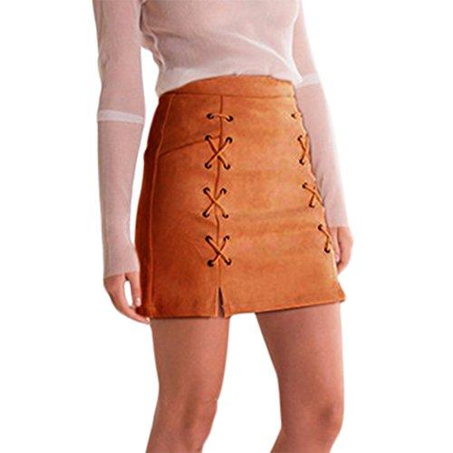 Rela Bota Women's High Waist Criss Cross Tight Bandage Suede Leather Mini Pencil Skirt Medium Brown ()