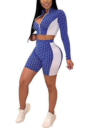 2 Club Jacket (Women Two Piece Outfits - Long Sleeve Zip Up Crop Top Jacket Short Pant Set Jogging Suit Clubwear Blue S)