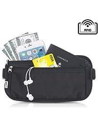 Money Belt for Travel RFID Blocking Fanny Pack, Hidden Passport Holder for Men Women - Keep Slim & Under Clothes to Prevent Pick Pocketers - Black Wallet fit Money, Credit Cards, Phone