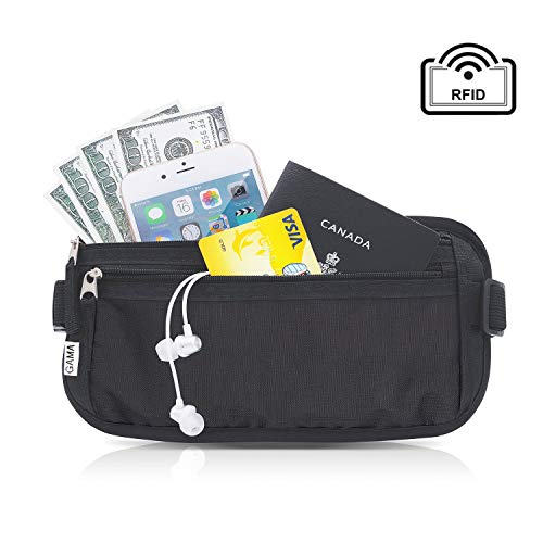 Money Belt for Travel, by Gama - RFID Blocking Fanny Pack, Hidden Passport Holder for Men Women - Keep Slim & Under Clothes to Prevent Pick Pocketers - Black Wallet fit Money, Credit Cards, Phone
