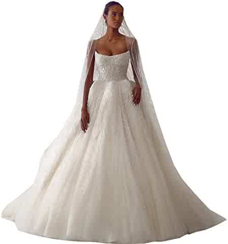af07aadb9658 Kelaixiang Spaghetti Straps Wedding Dress For Women A-Line Ball Gown Beaded