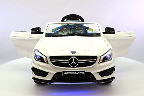 Moderno Kids Mercedes CLA45 Children Ride-On Car with R/C Parental Remote 12V Battery Power LED Wheels Lights + 5 Point Seat Belt + MP3 Music Player + Baby Tray Table + Rubber Floor Mats (White)