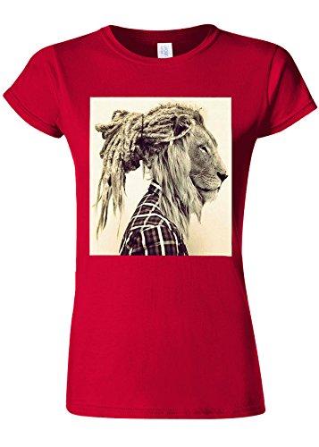接続されたディーラー水族館Lion Rasta Hair Funny Novelty Cherry Red Women T Shirt Top-L