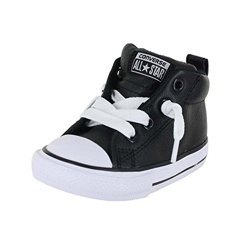 CONVERSE TODDLER T ALL STAR STREET MID LEATHER BLACK BLACK WHITE SIZE 9](Toddler Converse Shoes Size 9)
