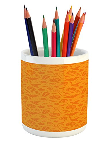 Ambesonne Halloween Pencil Pen Holder, Monochrome Design with Traditional Halloween Themed Various Objects Pumpkin Bat Print, Printed Ceramic Pencil Pen Holder for Desk Office Accessory, -