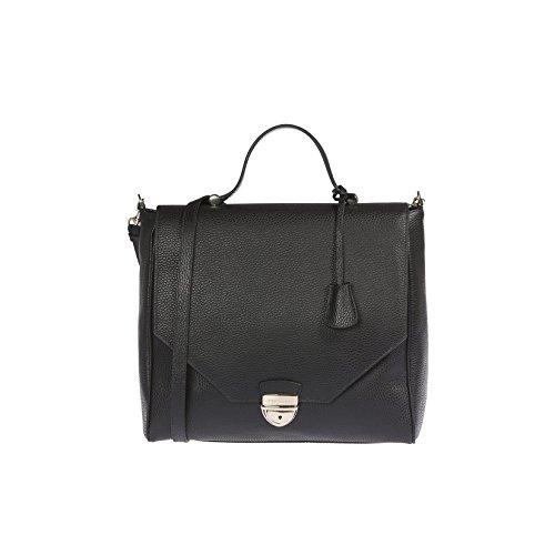 Trussardi mujeres bolso de cuero de dólar genuino, 100% Becerro - 32x30x14 cm Negro
