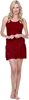 product image for PJ Harlow - 2 Piece Set - Knit Tank & Satin Boxers - Red - XS