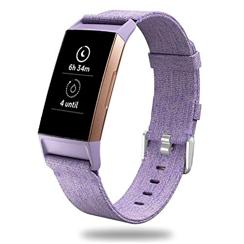 X4-Tech Compatible with Fitbit Charge 3 Bands Woven, Choose